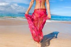 桃红色布裙风 库存图片