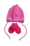 桃红色帽子和手套 库存图片