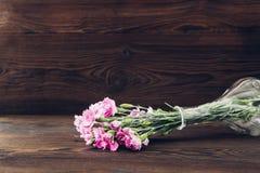 桃红色康乃馨花束在木背景的花瓶开花 文本的空的空间 库存照片