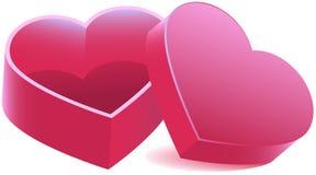 桃红色心形的开放箱子 免版税库存照片