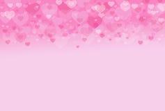 桃红色心脏华伦泰甜点背景 库存照片