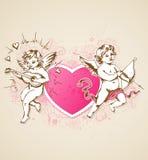 桃红色心脏和丘比特 图库摄影