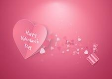 桃红色心脏和礼物盒 情人节和爱背景 免版税库存图片