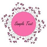 桃红色心脏和花标志背景 免版税库存图片