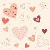 桃红色心脏抽象背景  免版税库存照片