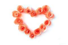 桃红色心脏由纸花制成 库存照片