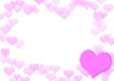 从桃红色心脏的框架 免版税库存图片