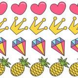 桃红色心脏,冠,金刚石,菠萝 古怪的动画片无缝的样式白色背景 平的设计 库存例证