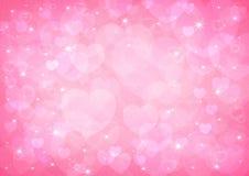 桃红色心脏bokeh 免版税图库摄影