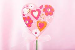 桃红色手工制造心脏 库存图片
