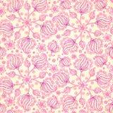 桃红色抽象乱画开花无缝的样式 免版税库存图片