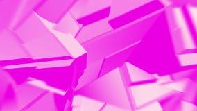 桃红色抽象多角形打破的形状动摇无缝的圈 3D动画 皇族释放例证