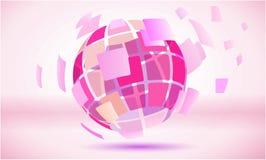 桃红色摆正了抽象地球球形标志 库存照片