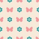 桃红色无缝的样式蝴蝶 库存照片