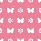 桃红色无缝的样式蝴蝶 免版税库存图片