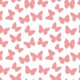 桃红色无缝的样式蝴蝶 免版税库存照片