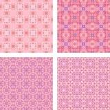 桃红色无缝的马赛克样式背景集合 库存例证