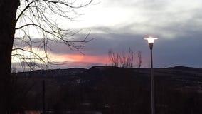 桃红色日落在Thermopolis, WY 图库摄影