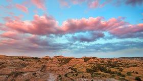 桃红色日落西奥多・罗斯福国家公园 库存照片