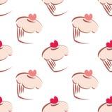 桃红色杯形蛋糕瓦片背景 库存照片