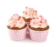 桃红色杯形蛋糕 免版税库存图片