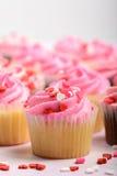 桃红色杯形蛋糕 库存图片