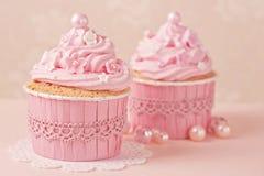 桃红色杯形蛋糕 图库摄影