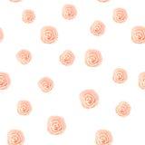 桃红色柔和的淡色彩玫瑰水彩的无缝的样式孤立丝毫的 库存照片