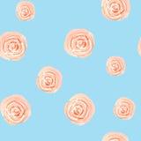 桃红色柔和的淡色彩玫瑰水彩的无缝的样式孤立蓝色的 免版税库存图片