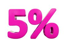 5%桃红色标志 图库摄影