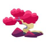 桃红色树和紫色岩石盆景微型传统日本庭院风景元素传染媒介例证 免版税库存图片