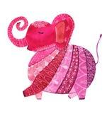 桃红色样式大象 免版税库存照片