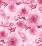 桃红色樱桃佐仓花花卉蓝色数字式艺术无缝的样式纹理背景 免版税库存图片