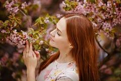 桃红色樱花背景的红发女孩在sprin的 图库摄影
