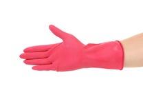 桃红色橡胶手套 免版税图库摄影