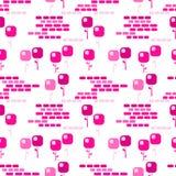 桃红色正方形开花无缝的背景 库存例证