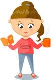 桃红色毛线衣的女孩 逗人喜爱与杯和书 图库摄影