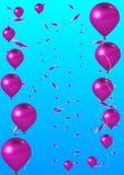 桃红色气球和假日五彩纸屑 皇族释放例证