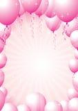 桃红色气球边界 免版税库存图片