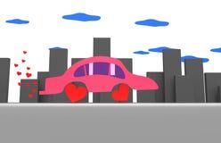 桃红色汽车在一个灰色城市 库存照片