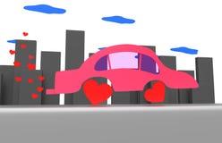 桃红色汽车在一个灰色城市 免版税库存图片