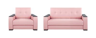 桃红色沙发和扶手椅子 免版税库存照片