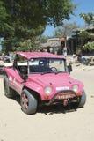 桃红色沙地汽车Jericoacora巴西 免版税图库摄影