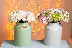 桃红色波斯毛茛花 在金属灰色葡萄酒罐头的卷曲牡丹毛茛属 有美丽的花束的花瓶 免版税图库摄影
