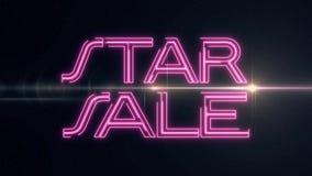 桃红色激光霓虹星销售文本出版与在黑背景-减速火箭新的质量的发光的轻的光学火光动画 皇族释放例证