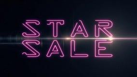 桃红色激光霓虹星销售文本出版与在黑背景-减速火箭新的质量的发光的轻的光学火光动画 向量例证