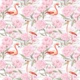 桃红色火鸟,牡丹开花,手书面文本 无缝的模式 水彩 库存照片