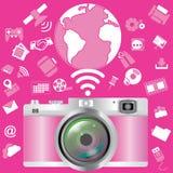 桃红色照相机 库存图片
