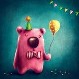 桃红色熊和气球 库存图片