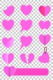 桃红色爱形状各种各样的样式在透明作用背景的 皇族释放例证